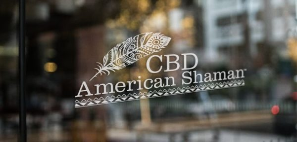 CBD American Shaman of Midlothian logo on glass