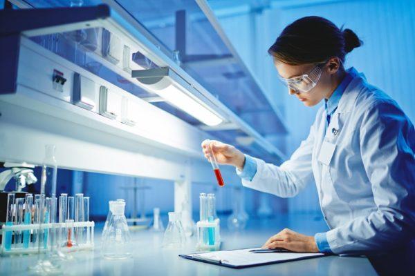 Woman testing CBD in a lab